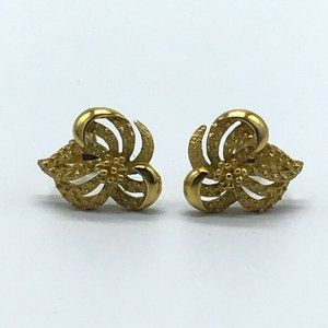 CROWN TRIFARI Gold Tone Modernist Clip Earrings